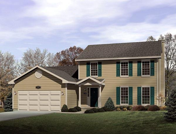 Colonial House Plan 49143 with 4 Beds, 3 Baths, 2 Car Garage Elevation