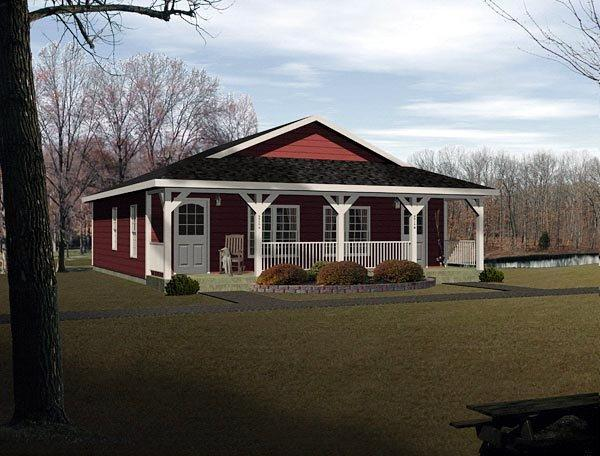 Country, Narrow Lot, One-Story Multi-Family Plan 49150 with 2 Beds, 2 Baths Elevation