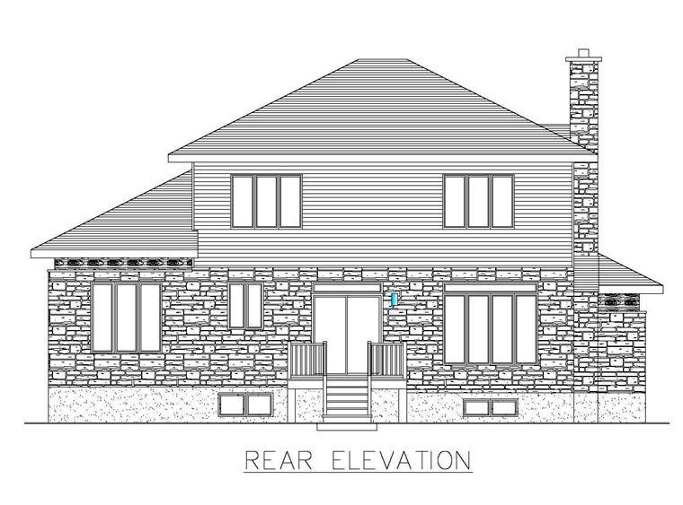 Contemporary, Modern House Plan 50323 with 3 Beds, 2 Baths, 2 Car Garage Rear Elevation