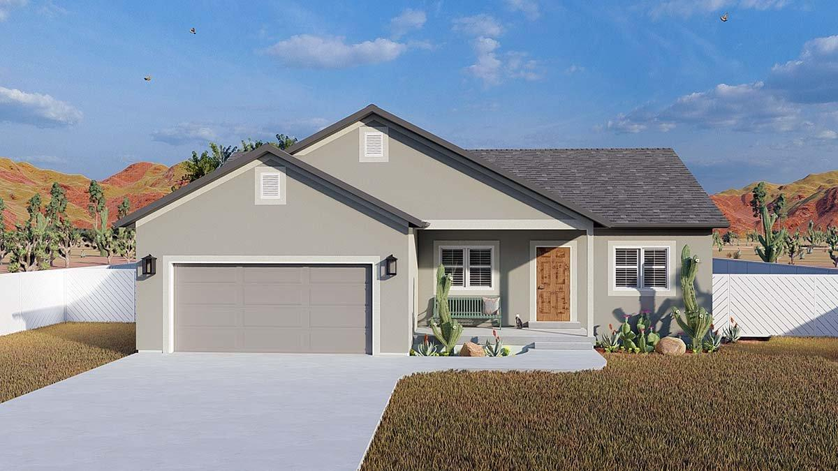 Ranch, Traditional House Plan 50534 with 5 Beds, 3 Baths, 2 Car Garage Elevation