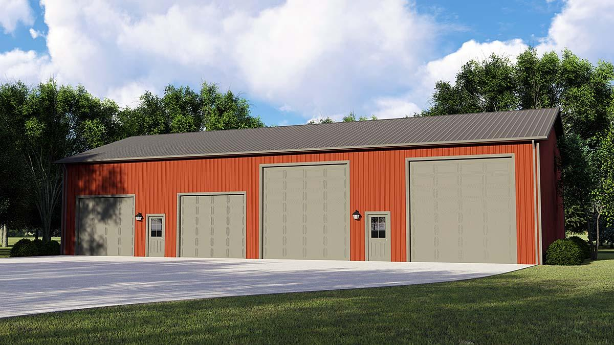 4 Car Garage Plan 50668, RV Storage Elevation