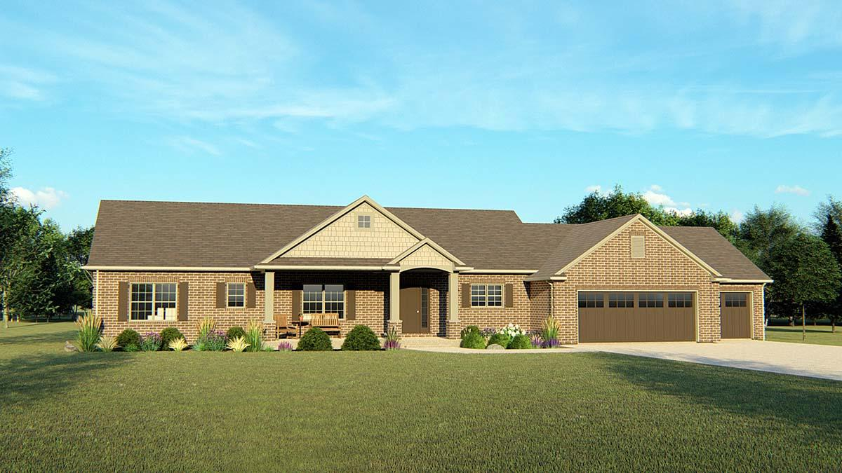 Ranch, Traditional House Plan 50691 with 3 Beds, 3 Baths, 3 Car Garage Elevation