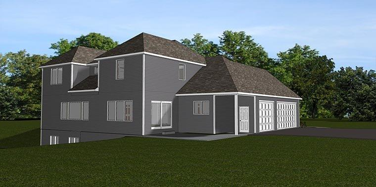 Cottage, Country, Southern, Traditional House Plan 50712 with 5 Beds, 3 Baths, 3 Car Garage Rear Elevation