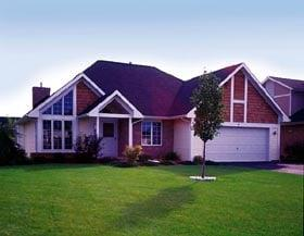 Bungalow, Contemporary, One-Story, Traditional House Plan 51016 with 3 Beds, 2 Baths, 2 Car Garage Elevation