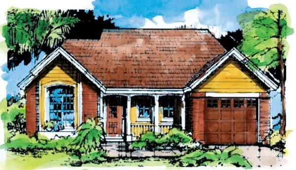 Country, One-Story House Plan 51024 with 2 Beds, 2 Baths, 1 Car Garage Elevation