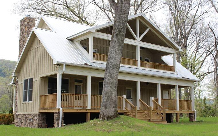 Cabin, Country, Farmhouse House Plan 51411 with 3 Beds, 4 Baths Rear Elevation