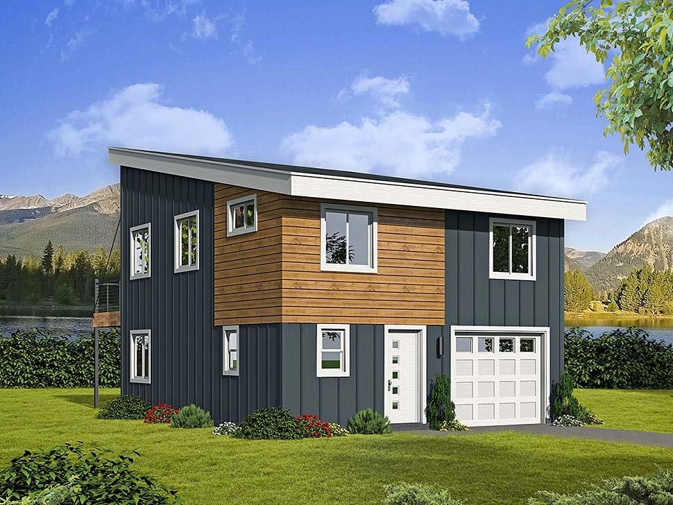 Contemporary, Modern Garage-Living Plan 51597 with 3 Beds, 2 Baths, 1 Car Garage Elevation