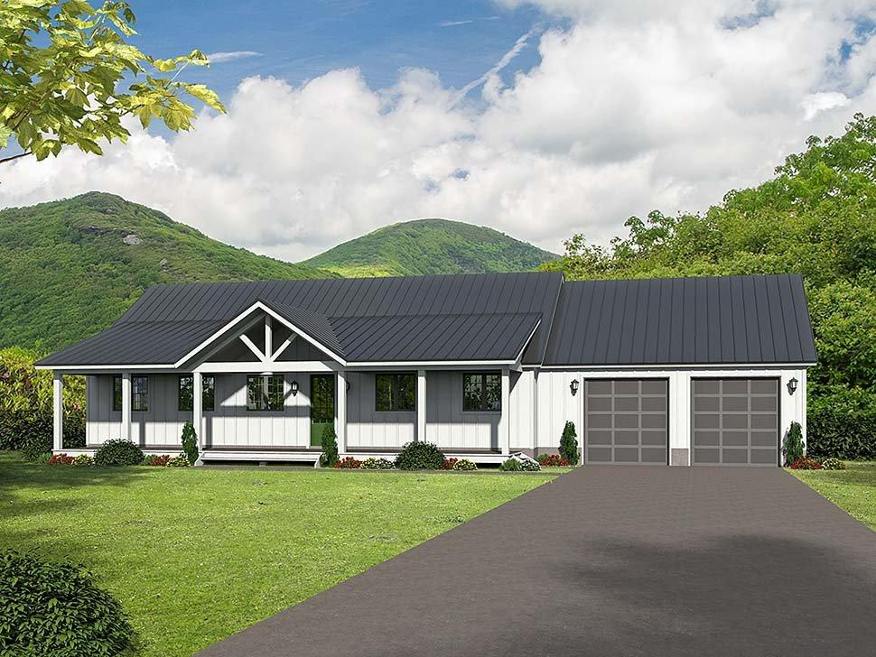 Ranch, Southern House Plan 51600 with 2 Beds, 2 Baths, 2 Car Garage Elevation