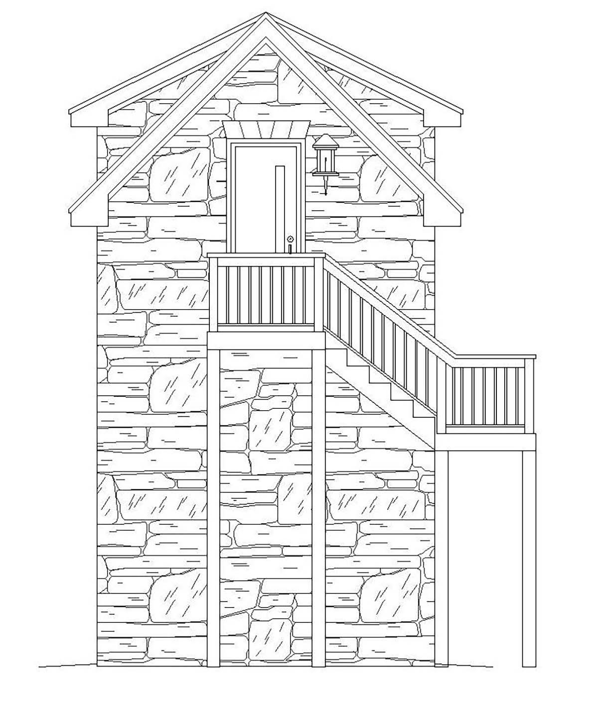 French Country, Traditional 1 Car Garage Plan 51691 Rear Elevation