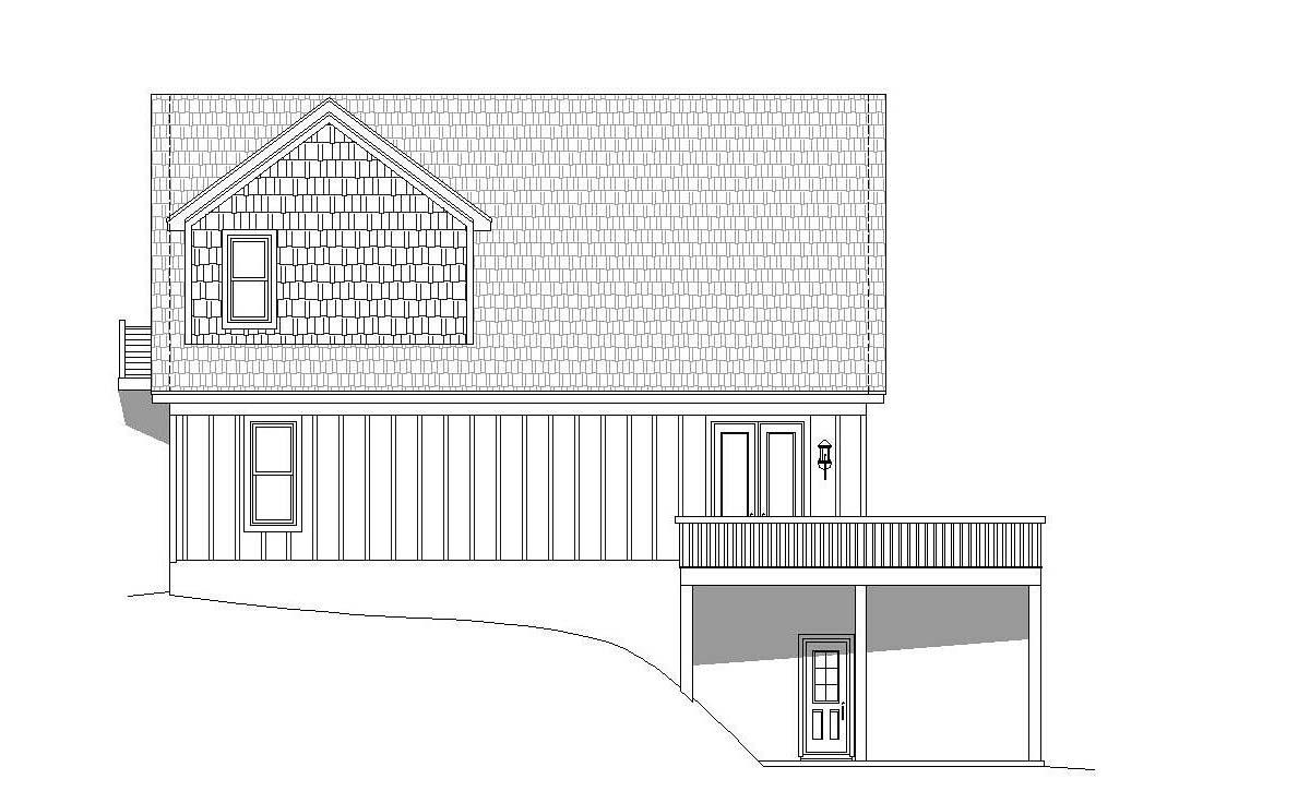Contemporary, Country, Craftsman House Plan 51696 with 3 Beds, 2 Baths, 2 Car Garage Rear Elevation