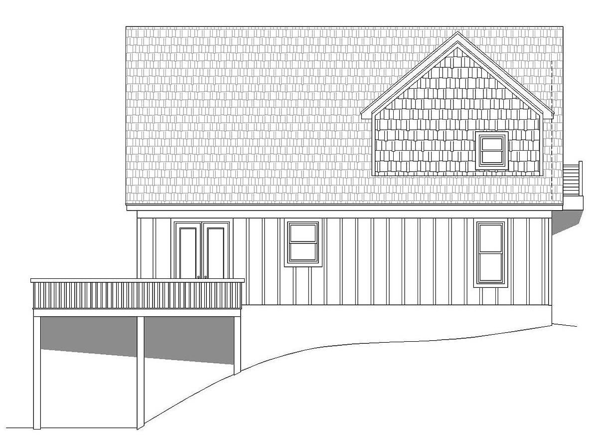 Contemporary, Country, Traditional House Plan 51697 with 3 Beds, 3 Baths Rear Elevation