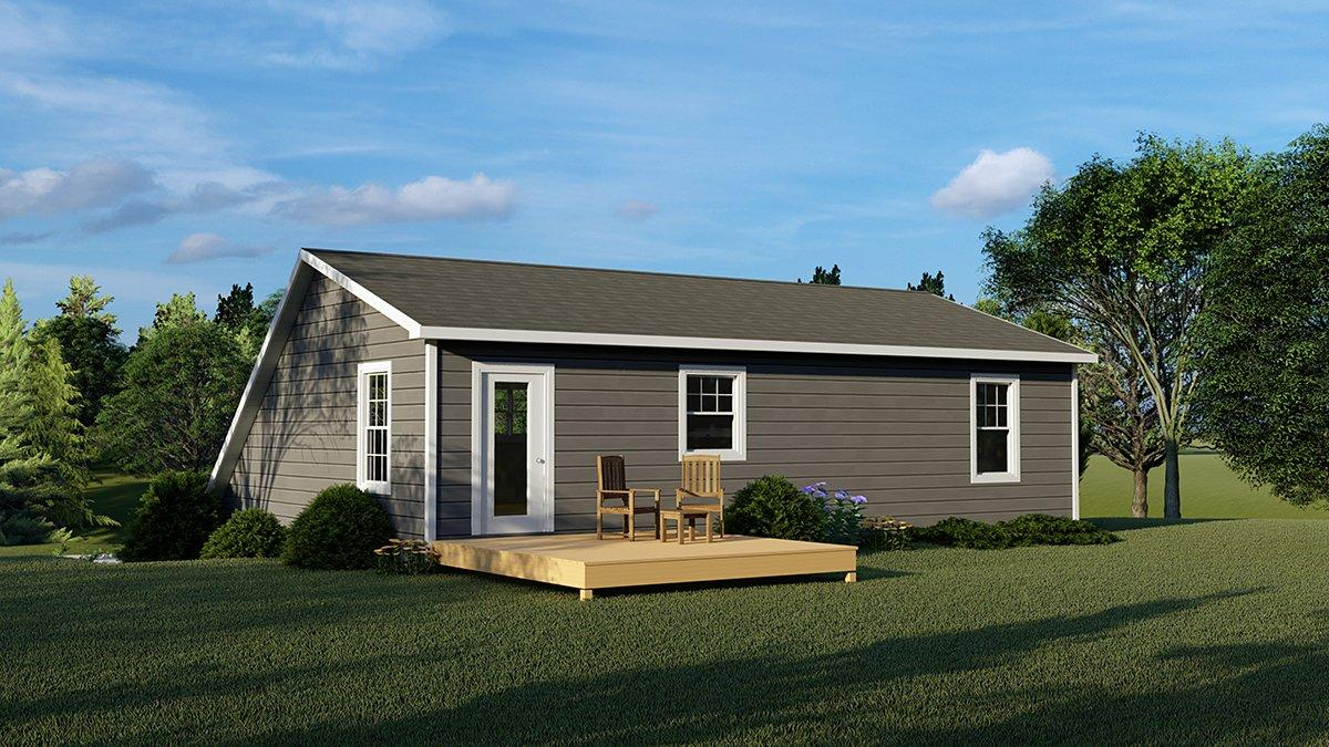 Bungalow, Cottage, Country, Craftsman, Tudor 2 Car Garage Apartment Plan 51820 with 2 Beds, 2 Baths Rear Elevation