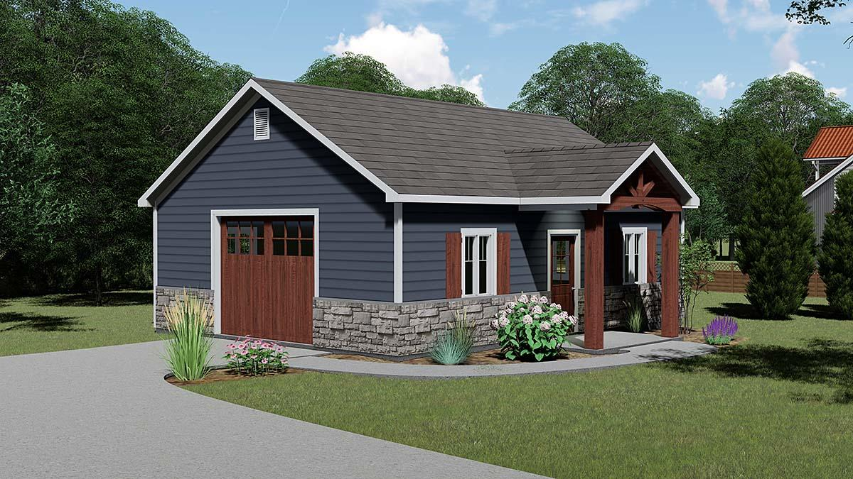 Bungalow, Craftsman, Traditional 1 Car Garage Plan 51839 Elevation