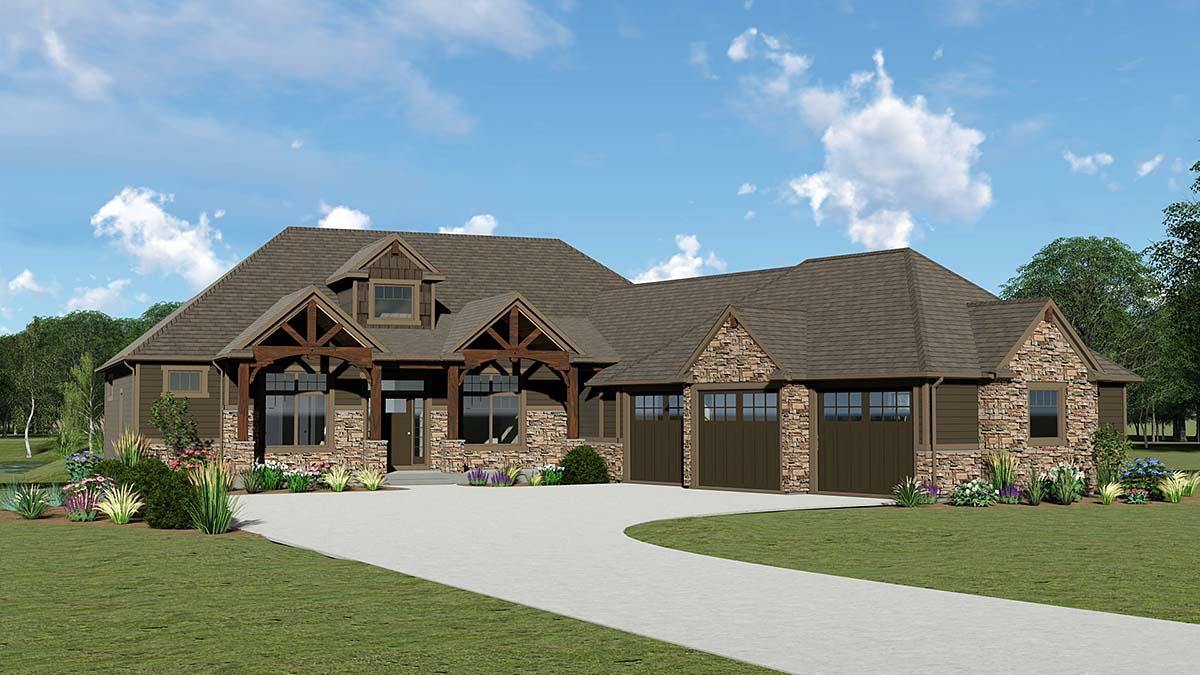 Country, Craftsman, Ranch House Plan 51854 with 4 Beds, 4 Baths, 3 Car Garage Elevation