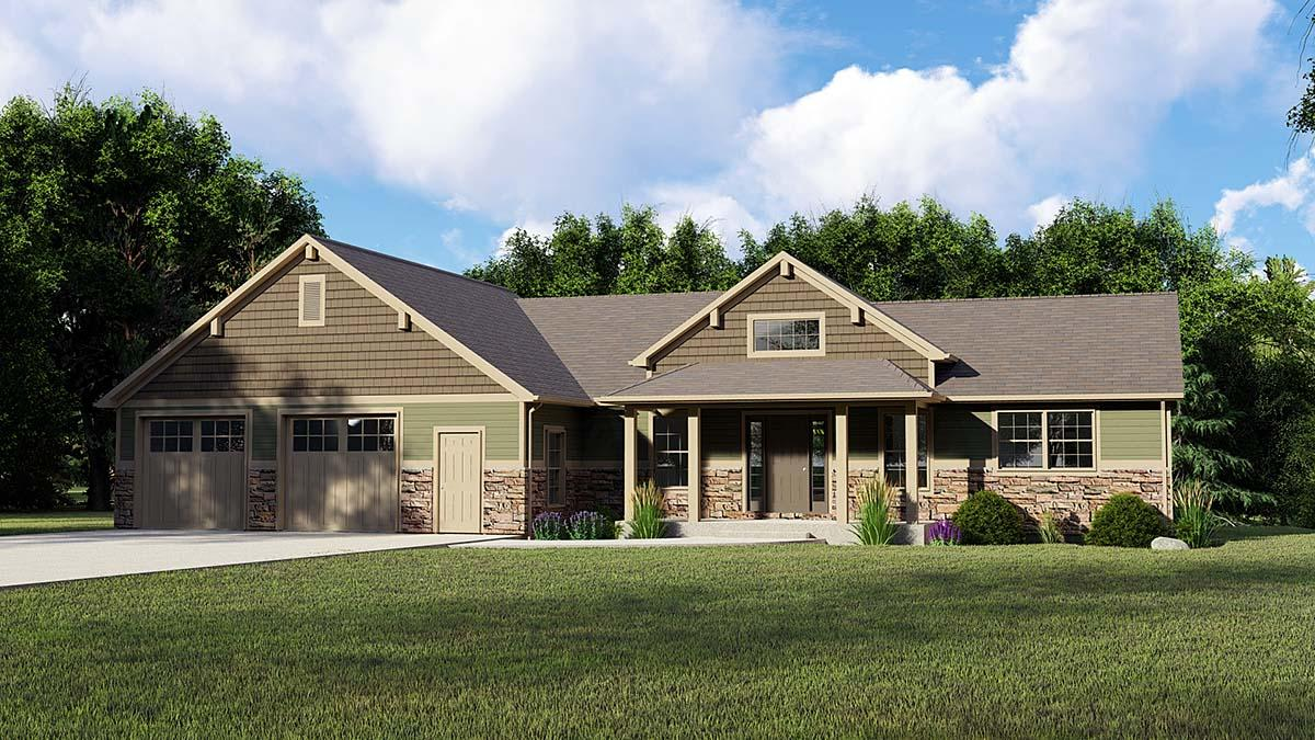 Country, Traditional House Plan 51879 with 5 Beds, 3 Baths, 2 Car Garage Elevation