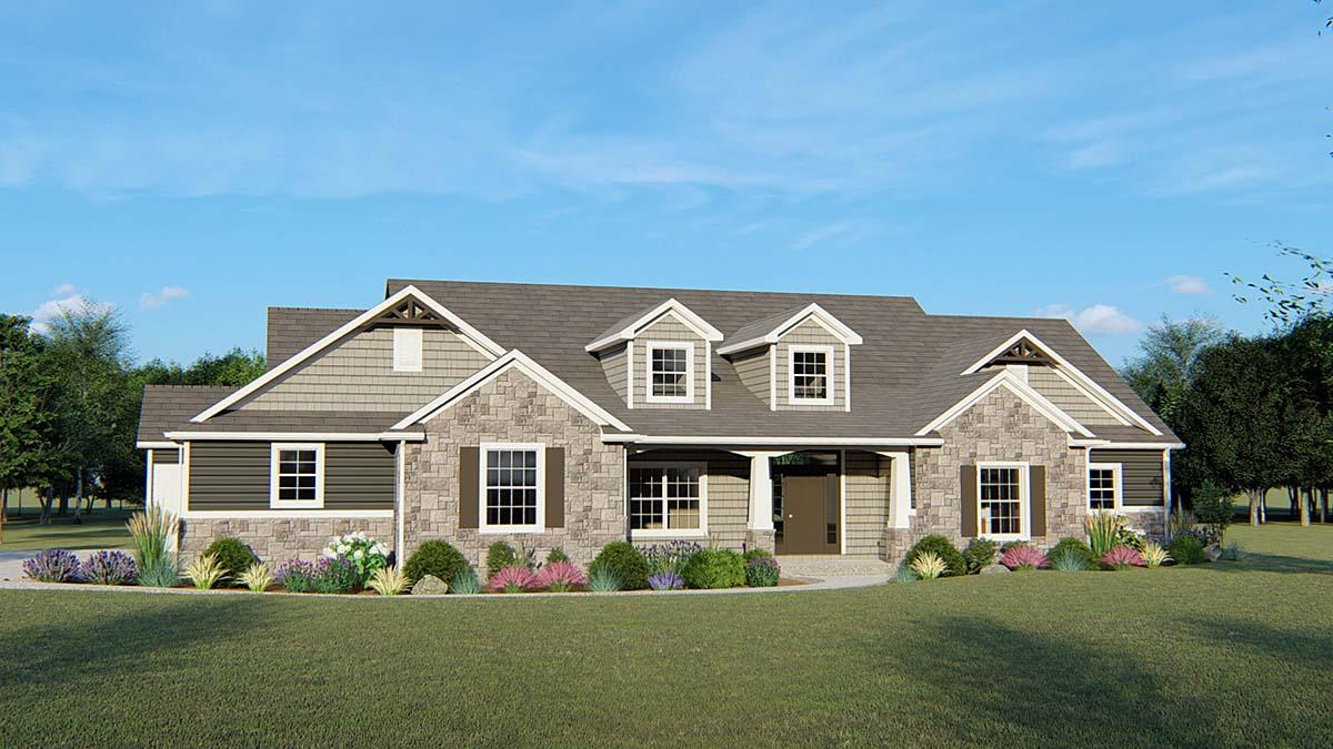 Country, Craftsman, Traditional House Plan 51882 with 3 Beds, 3 Baths, 3 Car Garage Elevation