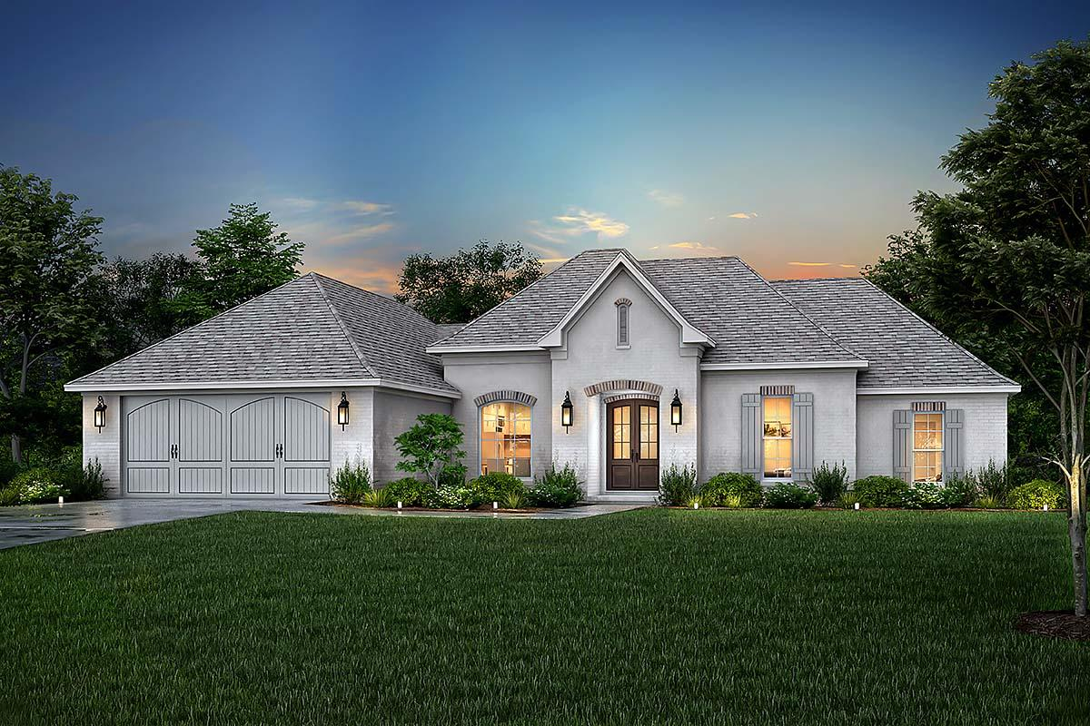 Country, European, French Country House Plan 51915 with 4 Beds, 2 Baths, 2 Car Garage Elevation