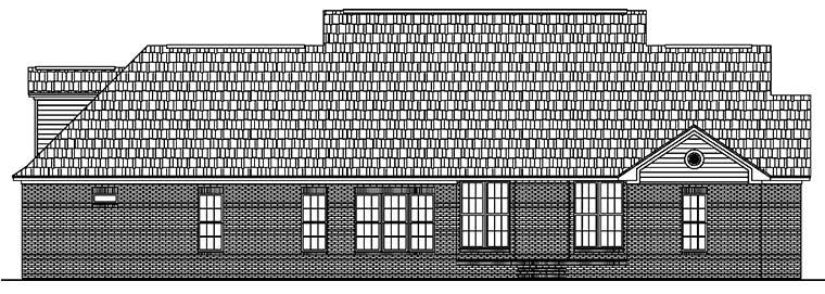 Country, Ranch, Traditional House Plan 51953 with 4 Beds, 4 Baths, 2 Car Garage Rear Elevation