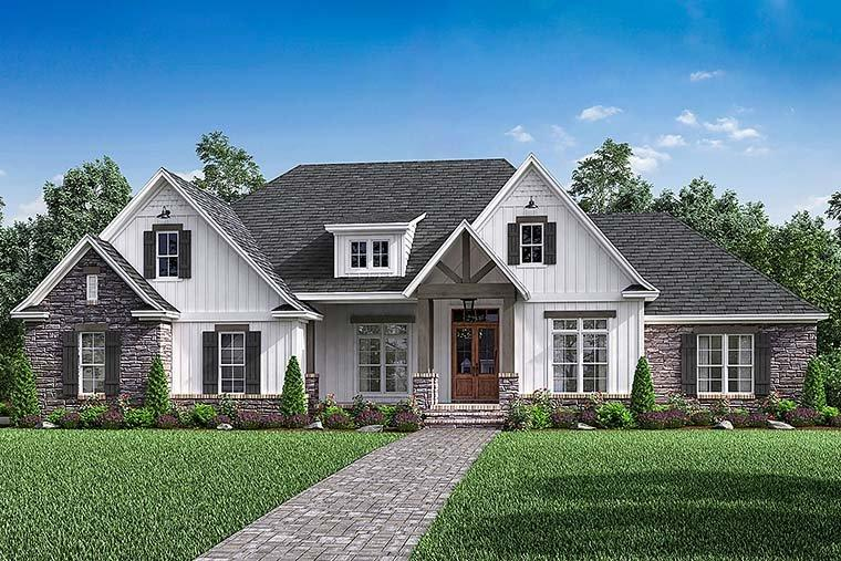 Country, Craftsman, Farmhouse, Southern, Traditional House Plan 51968 with 4 Beds, 3 Baths, 2 Car Garage Elevation