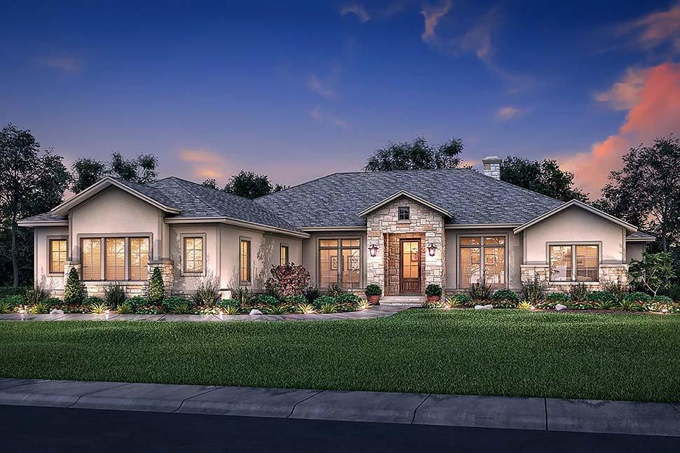 Country, Ranch, Traditional House Plan 51983 with 4 Beds, 4 Baths, 3 Car Garage Elevation