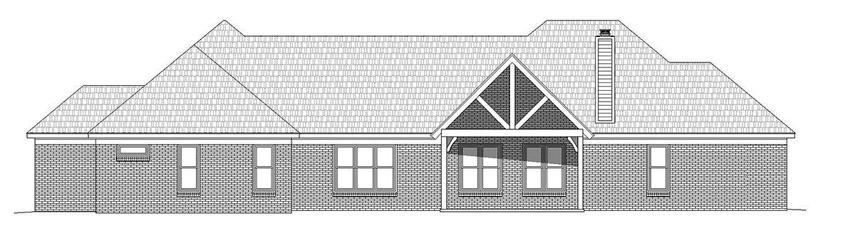 French Country, Ranch, Traditional House Plan 52117 with 3 Beds, 3 Baths, 3 Car Garage Rear Elevation