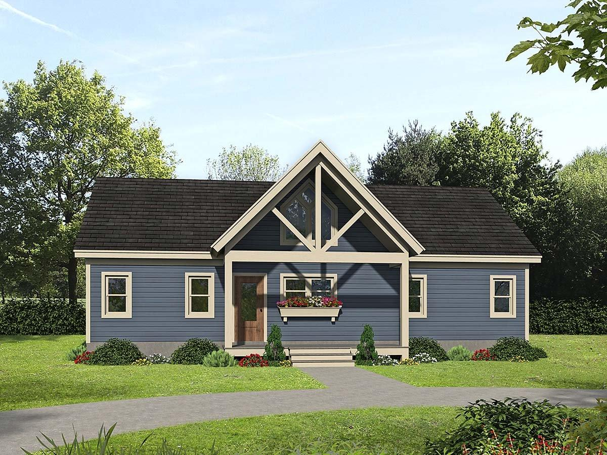 Country, Farmhouse, Traditional House Plan 52120 with 2 Beds, 2 Baths Elevation