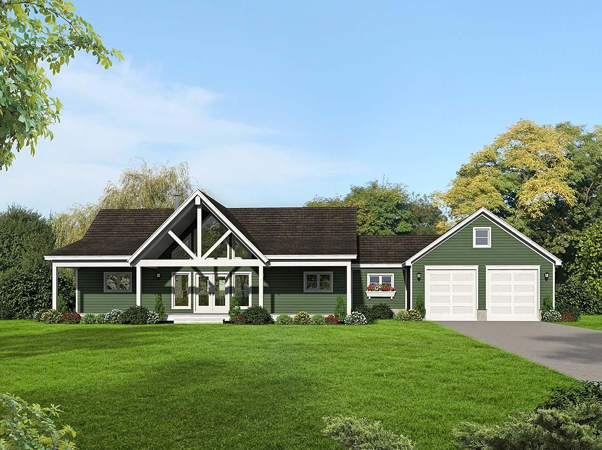 Country, Farmhouse, Traditional House Plan 52123 with 2 Beds, 2 Baths, 2 Car Garage Elevation