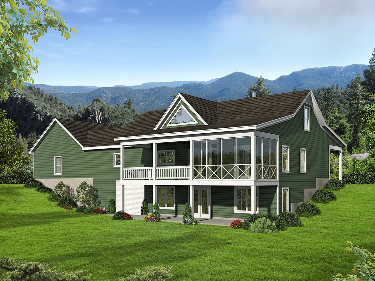 Country, Farmhouse, Traditional House Plan 52123 with 2 Beds, 2 Baths, 2 Car Garage Rear Elevation