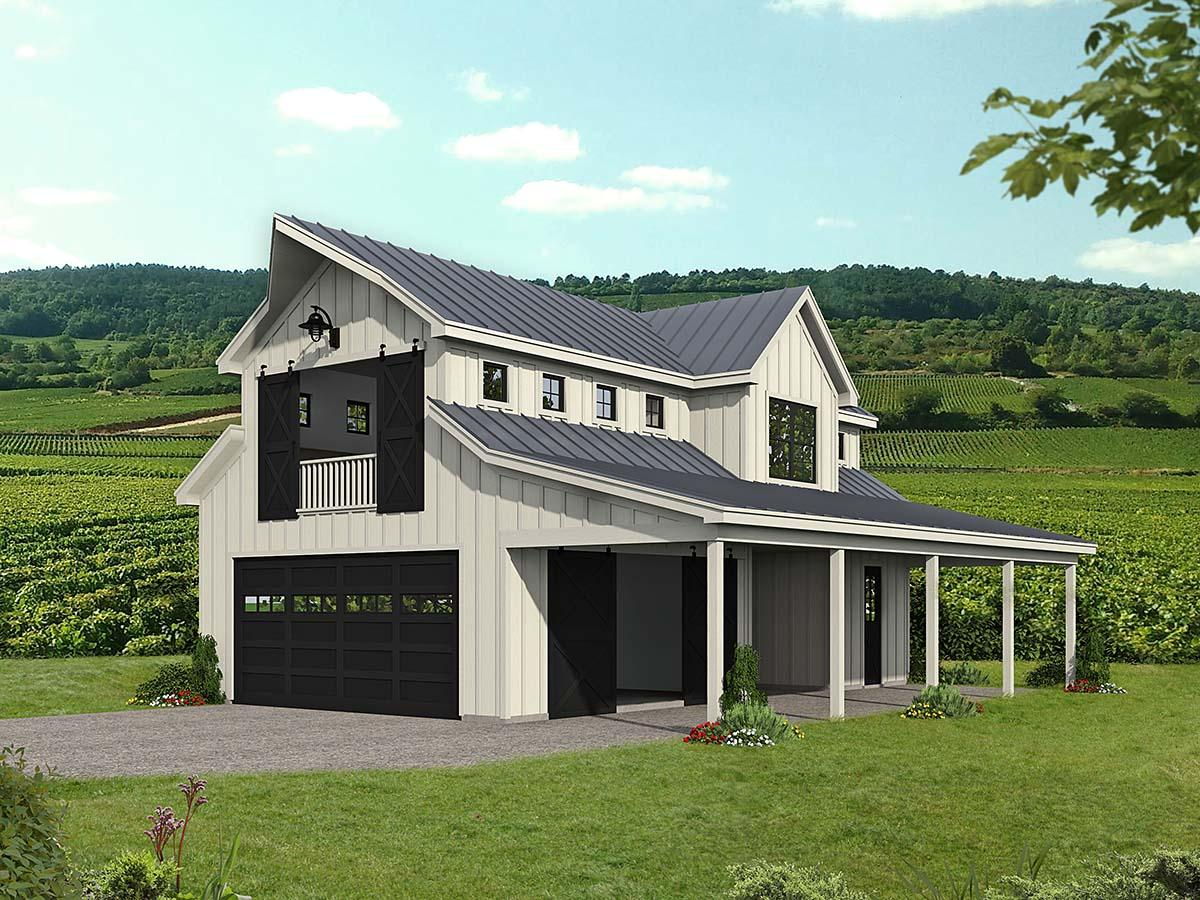 Country, Farmhouse, Ranch, Traditional 2 Car Garage Apartment Plan 52136 Elevation