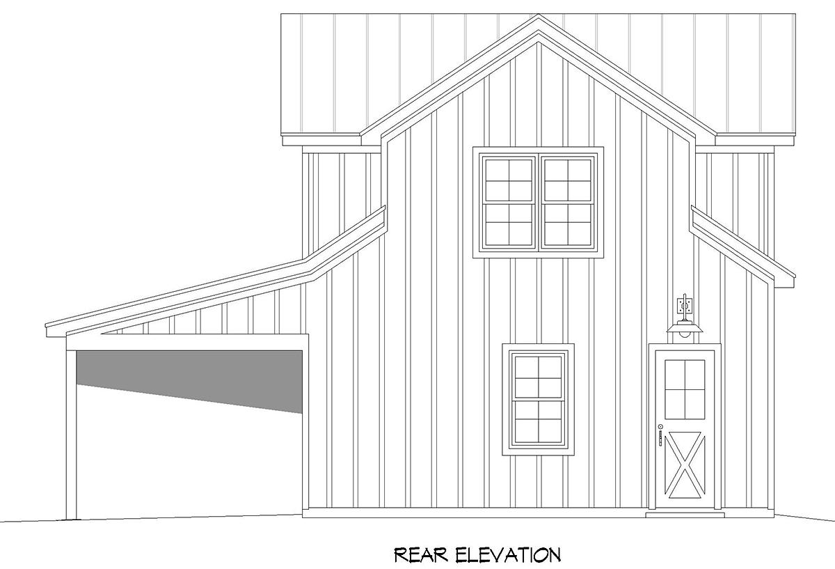 Country, Farmhouse, Ranch, Traditional 2 Car Garage Apartment Plan 52136 Rear Elevation