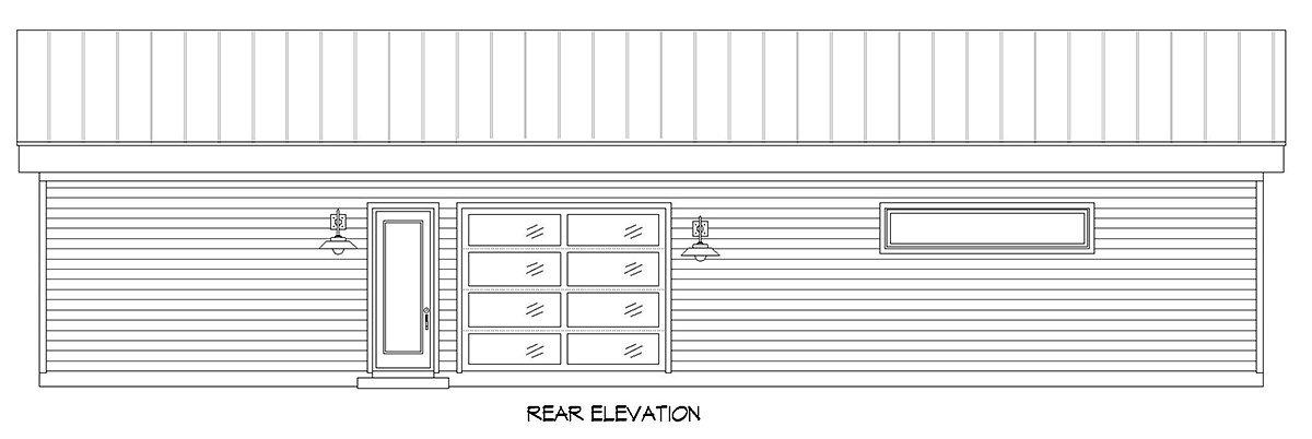 Bungalow, Contemporary, Craftsman Garage-Living Plan 52141 with 2 Beds, 1 Baths, 3 Car Garage Rear Elevation