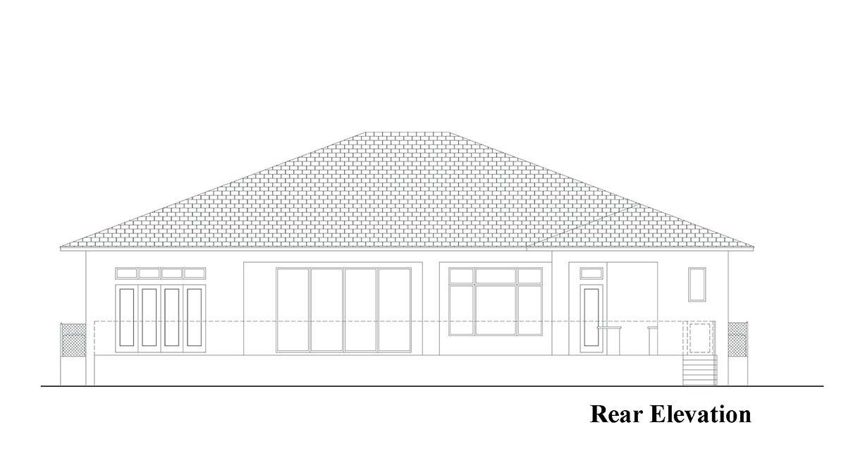 Coastal, Contemporary, Florida House Plan 52961 with 5 Beds, 6 Baths, 3 Car Garage Rear Elevation