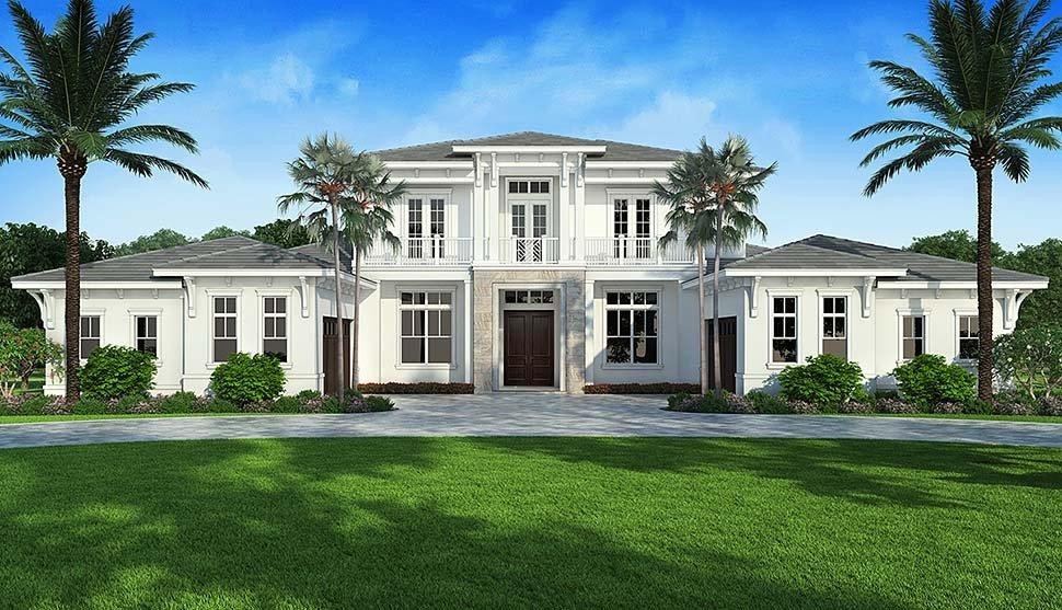 Coastal, Contemporary House Plan 52962 with 4 Beds, 6 Baths, 4 Car Garage Elevation