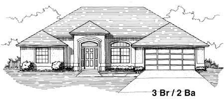House Plan 53248 with 3 Beds, 2 Baths, 2 Car Garage Elevation