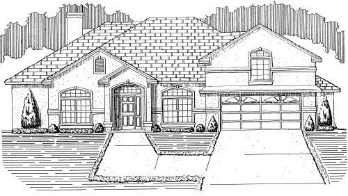 House Plan 53474 with 4 Beds, 3 Baths, 2 Car Garage Elevation