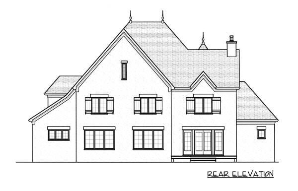European House Plan 53742 with 5 Beds, 4 Baths, 3 Car Garage Rear Elevation