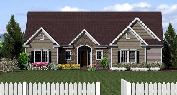 Ranch House Plan 54029 with 3 Beds, 3 Baths, 2 Car Garage Elevation