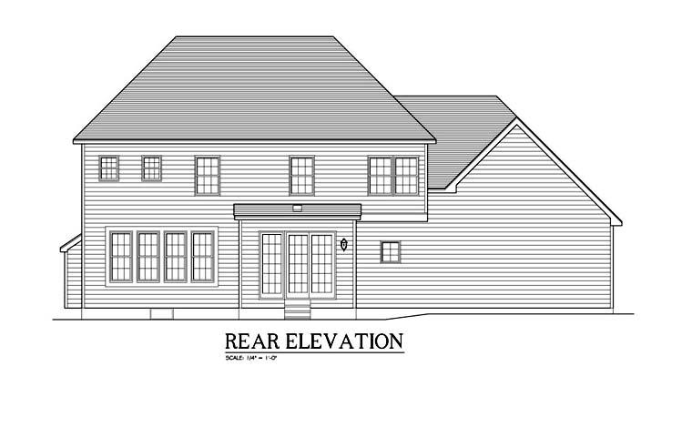 Traditional House Plan 54138 with 4 Beds, 3 Baths, 2 Car Garage Rear Elevation