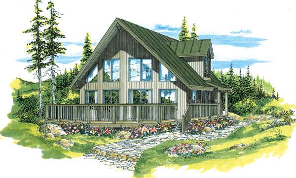 Contemporary House Plan 55011 with 3 Beds, 2 Baths Elevation