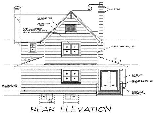 Farmhouse, Narrow Lot House Plan 55487 with 3 Beds, 3 Baths Rear Elevation