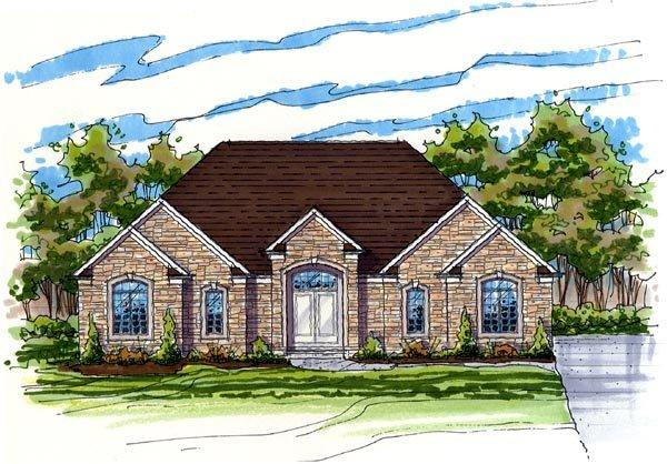 Contemporary, One-Story, Ranch, Traditional House Plan 56416 with 4 Beds, 2 Baths, 3 Car Garage Elevation