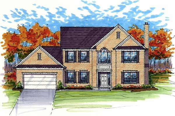 Colonial, Country, Traditional House Plan 56417 with 4 Beds, 3 Baths, 2 Car Garage Elevation