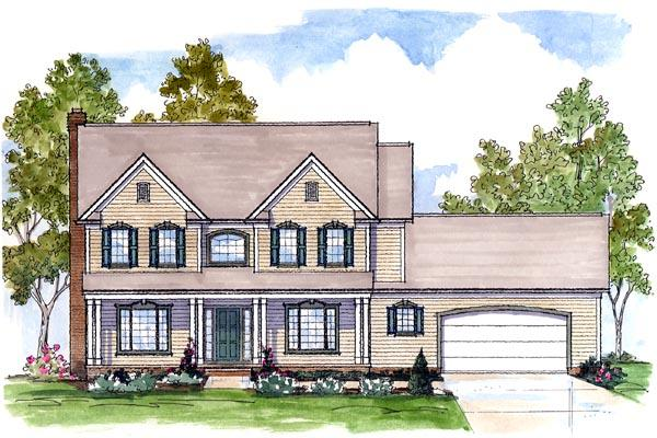 Colonial, Country, Farmhouse, Traditional House Plan 56422 with 4 Beds, 4 Baths, 2 Car Garage Elevation