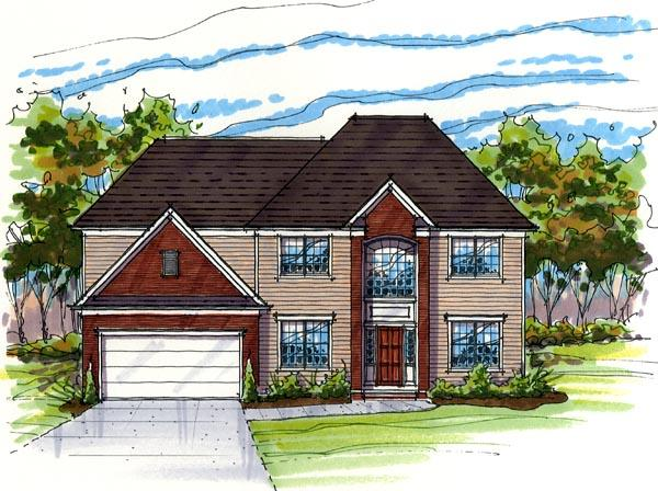Contemporary, Traditional House Plan 56423 with 3 Beds, 3 Baths, 2 Car Garage Elevation