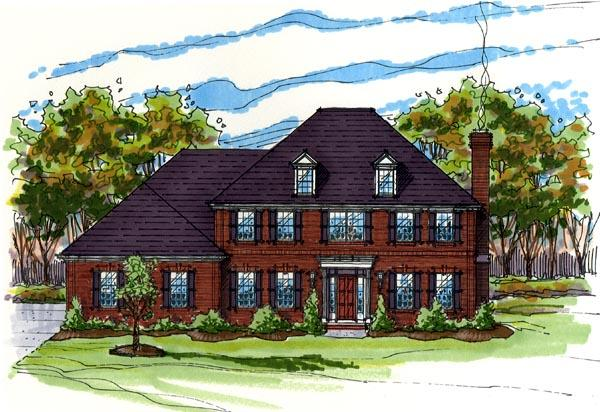Colonial, Southern, Traditional House Plan 56424 with 4 Beds, 3 Baths, 3 Car Garage Elevation