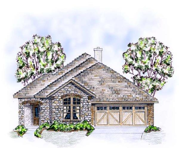 European, Ranch, Traditional House Plan 56565 with 3 Beds, 2 Baths, 2 Car Garage Elevation