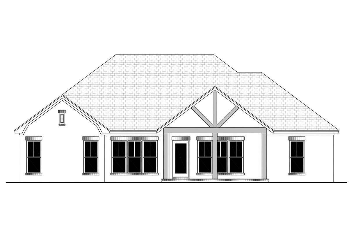 Country, French Country, One-Story, Traditional House Plan 56709 with 3 Beds, 2 Baths, 2 Car Garage Rear Elevation