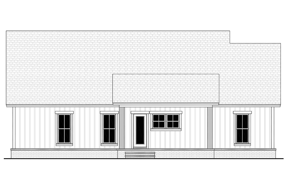 Country, Farmhouse, Southern, Traditional House Plan 56712 with 3 Beds, 2 Baths, 2 Car Garage Rear Elevation