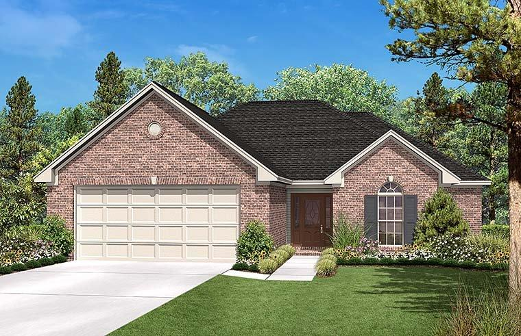 Country, Ranch, Traditional House Plan 56951 with 3 Beds, 2 Baths, 2 Car Garage Elevation