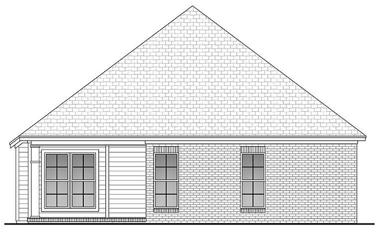 Country, Ranch, Traditional House Plan 56954 with 3 Beds, 2 Baths, 2 Car Garage Rear Elevation